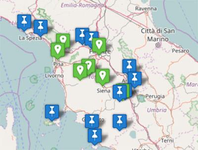 Carte touristique de la Toscane